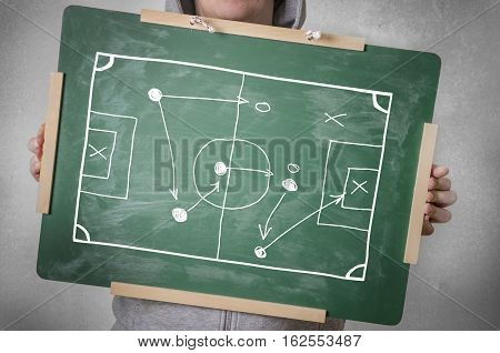 Tactics of soccer game on a chalkboard