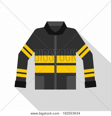 Black and yellow firefighter jacket icon. Flat illustration of firefighter jacket vector icon for web isolated on white background