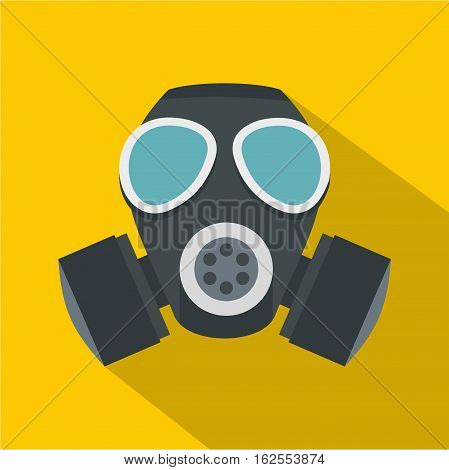 Army gas mask icon. Flat illustration of army gas mask vector icon for web isolated on yellow background
