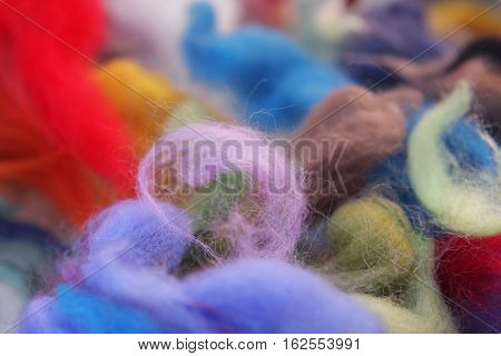 Felting materials - pieces of colored wool for felting