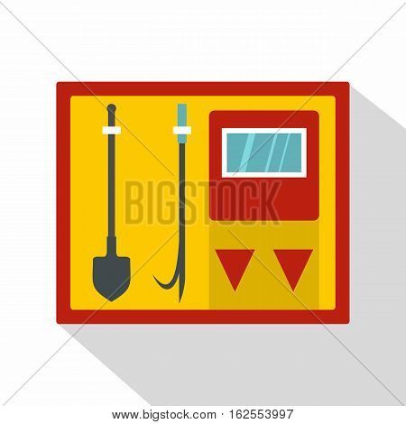 Flat illustration of fire shield with fire extinguishing tool vector icon for web isolated on white background