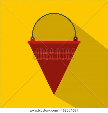 Red fire bucket icon. Flat illustration of red fire bucket vector icon for web isolated on yellow background