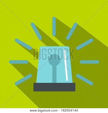 Blue flashing emergency light icon. Flat illustration of flashing emergency light vector icon for web isolated on lime background