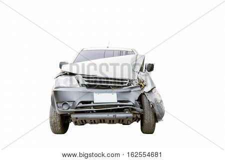Conditions of demolished cars accident isolated on white background.