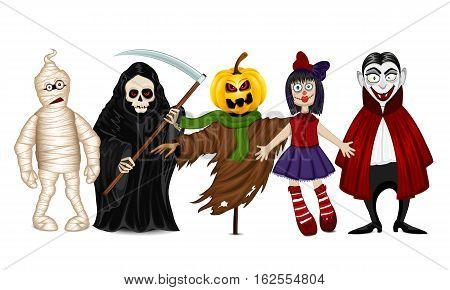 Five different characters for Halloween isolated on white background