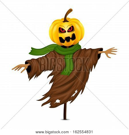 Scarecrow for Halloween isolated on white background