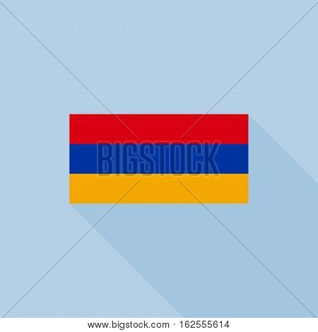 Armenia flag in official proportions, flat design with long shadow