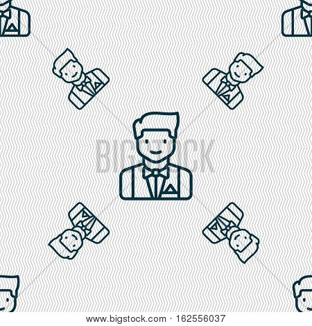 Butler Icon Sign. Seamless Pattern With Geometric Texture. Vector