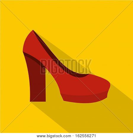 Red high heel shoes icon. Flat illustration of red high heel shoes vector icon for web