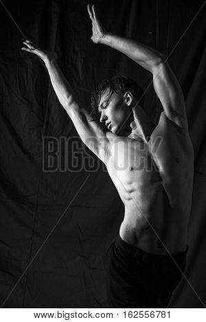emotional dance of beautiful young sexy muscular guy
