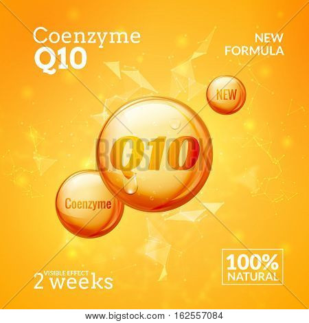 Coenzyme Q10. Supreme serum collagen oil drop vector design. Skin care essence droplet solution. Natural beauty treatment for health. poster