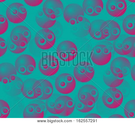 Abstract seamless background on blue surface smooth convex and blue and pink balls and circles and dots