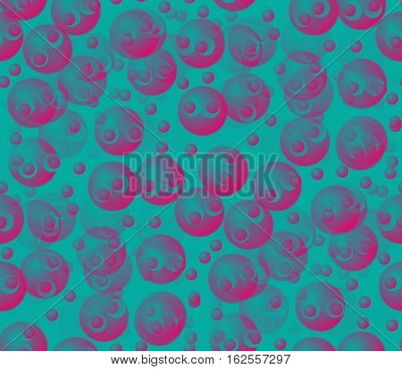 Abstract seamless background on blue divorced surface smooth convex and blue and pink balls and circles and dots