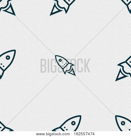 Rocket Icon Sign. Seamless Pattern With Geometric Texture. Vector