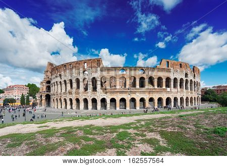 ruins of antique Colosseum in Rome Italy