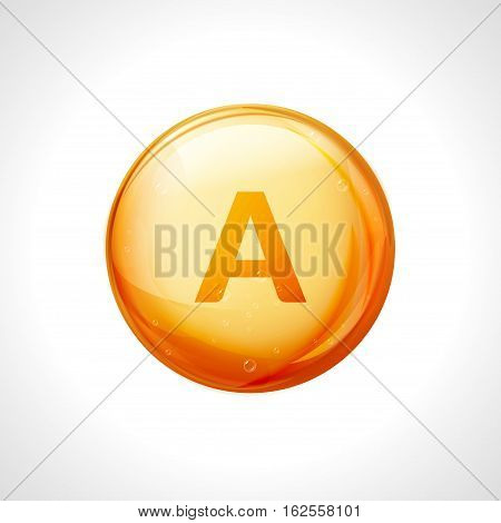 Vitamin A pill icon. Retinol vitamin nutrition treatment. Medicine health care. Natural supplement 3d symbol.