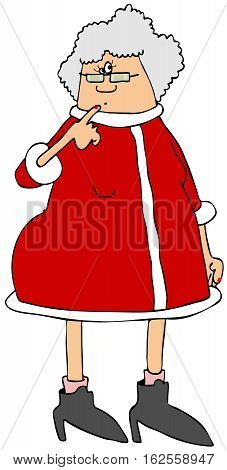 Illustration of Mrs. Santa Claus wearing a red dress and with her finger against her chin.