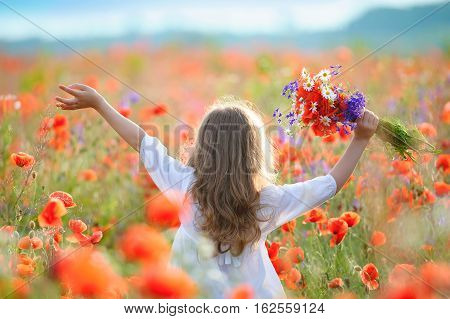 kid girl move thru blooming field with red wild flowers