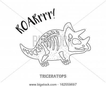Triceratops skeleton outline drawing. Fossil of a triceratops dinosaur skeleton. Coloring book page