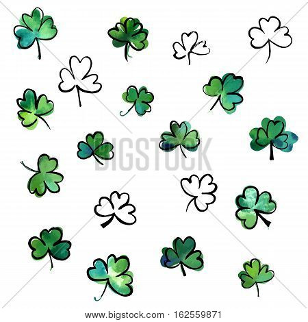 A collection of hand drawn vector, watercolour and ink shamrocks, isolated on white background, to be used as design elements