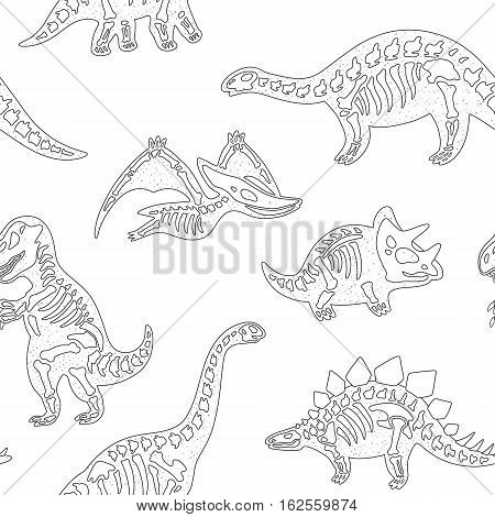 Funny sketchy fossil dinosaurs background in outline. Black and white cartoon fossil dinosaurs seamless pattern. Vector illustration
