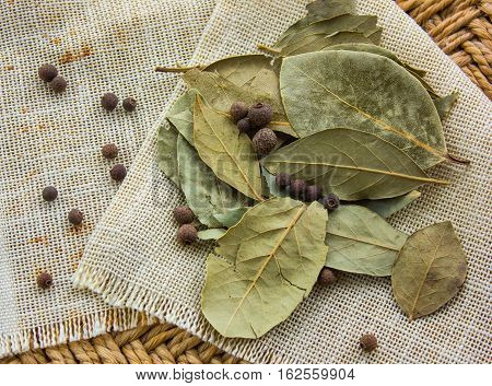 bay leaf on the old fabric. bay leaf on the old fabric.