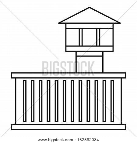 Prison tower icon. Outline illustration of prison tower vector icon for web