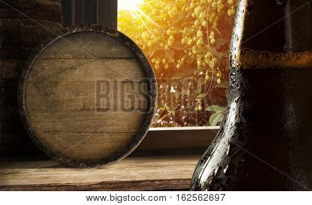 glass beer on wood background with copyspace.