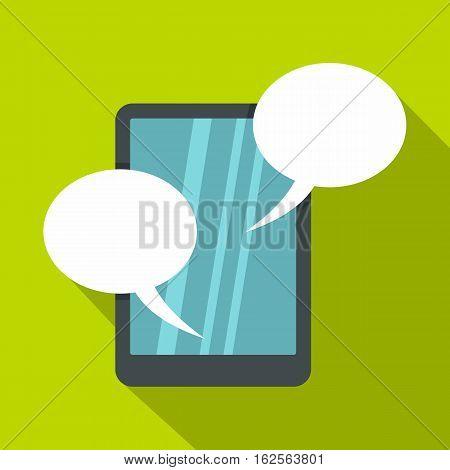 Speech bubble on phone icon. Flat illustration of speech bubble on phone vector icon for web