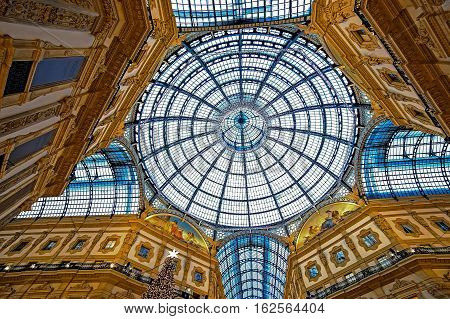 MILAN ITALY - DECEMBER 11 2016: Interior at Vittorio Emanuele II Gallery on Christmas time.