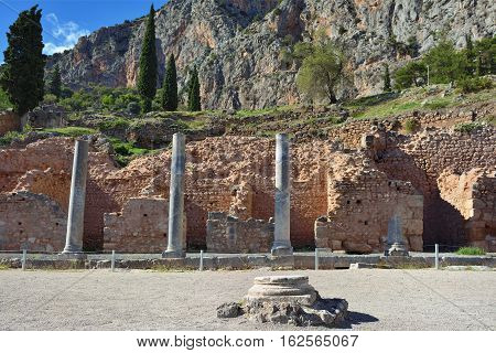 The Ancient Greek Columns In Delphi, Greece