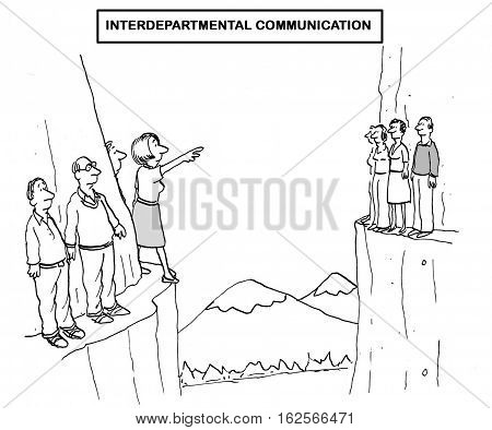 Black and white business illustration about a complete lack of interdepartmental communication.