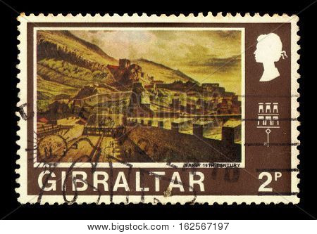 GIBRALTAR - CIRCA 1971: A stamp printed in Gibraltar shows Gibraltar from the North Bastion (Early 19th century), circa 1971