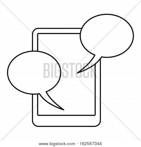 Speech bubble on phone icon. Outline illustration of speech bubble on phone vector icon for web