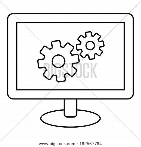 Monitor settings icon. Outline illustration of monitor settings vector icon for web