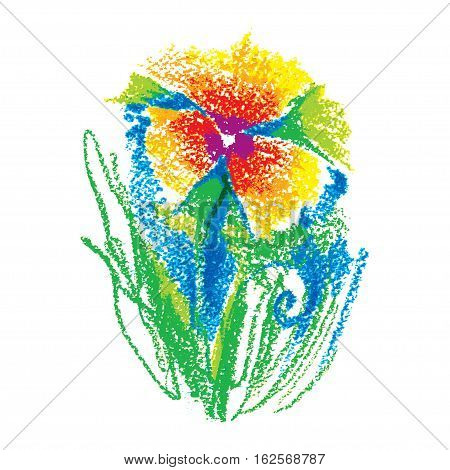 Vector illustration oil pastel childlike stylized flower isolated on white background. Colorful floral drawing in sketch style. Hand drawn art element for summer design and simple decor.