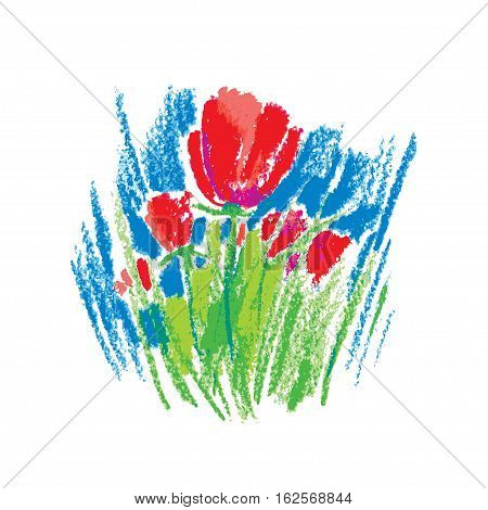 Vector illustration oil pastel childlike stylized red flowers isolated on white background. Colorful floral drawing in sketch style. Hand drawn art element for summer design and simple decor.