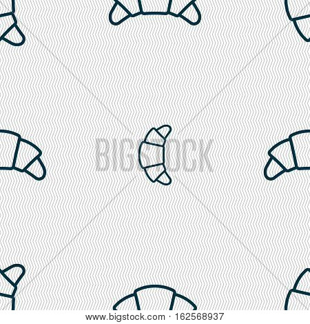 Croissant Bread Icon Sign. Seamless Pattern With Geometric Texture. Vector
