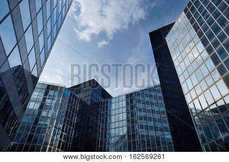 Skyscrapers With Glass Facade. Modern Buildings In Paris La Defence. Concepts Of Economics, Financia