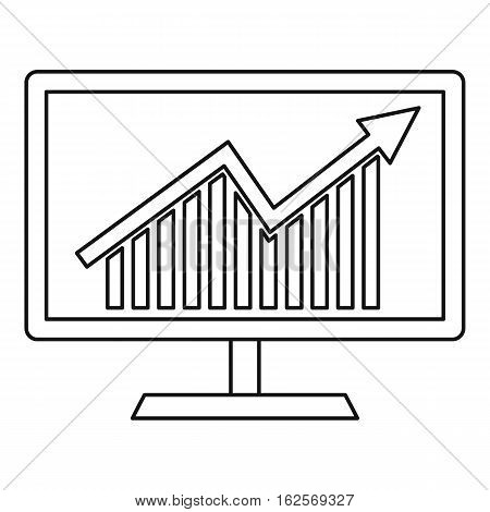 Statistics on monitor icon. Outline illustration of statistics on monitor vector icon for web