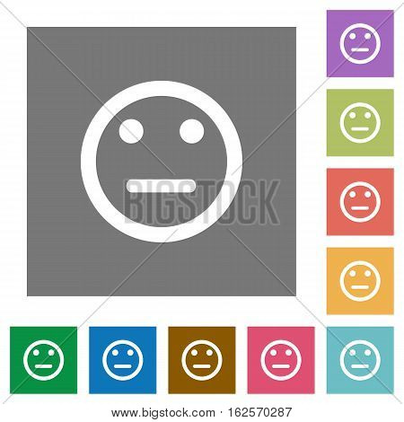 Neutral emoticon flat icons on simple color square backgrounds