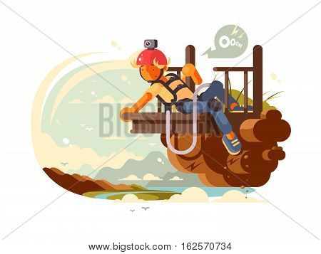 Young man with camera on helmet prepares to jump bungee. Vector illustration