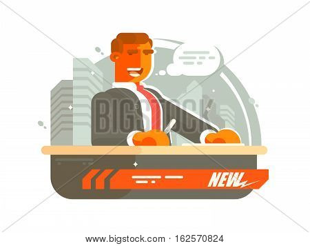 Television news presenter man said on air. Vector illustration