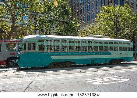 San Francisco,California,USA - July 29, 2014 : Historic streetcar at Embarcadero