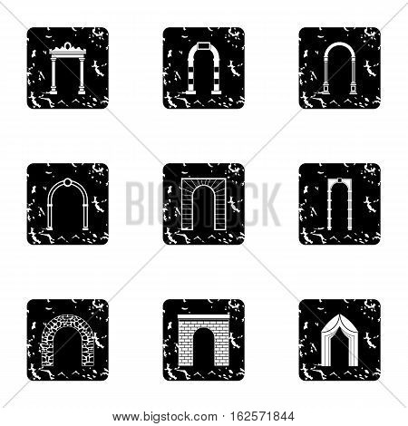 Arch icons set. Grunge illustration of 9 arch vector icons for web