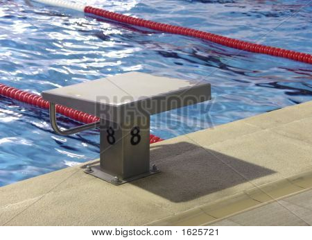 Start position with number 8 in competition swimming pool poster