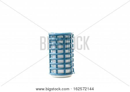 blue hair curlers on a white background