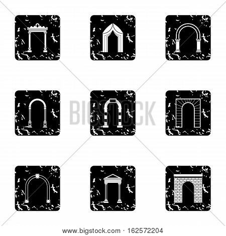 Types of arches icons set. Grunge illustration of 9 types of arches vector icons for web