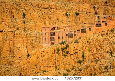 Construction Of The Hotel Above Canyon Gorges Du Dades