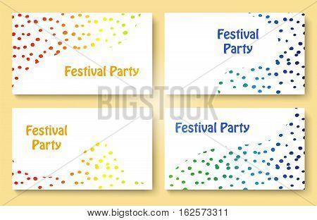 Abstract colorful dots festive party business card template set. Stock vector illustration for company identity.